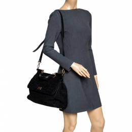 Dolce&Gabbana Black Lace and Leather Miss Sicily Top Handle Bag 297823