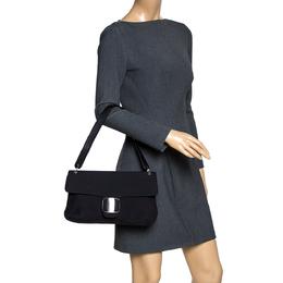 Salvatore Ferragamo Black Fabric and Leather Shoulder Bag 297835