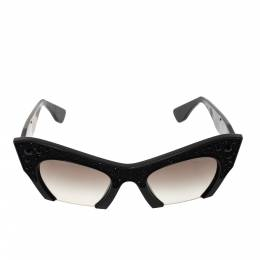Miu Miu Black Gradient SMU 02Q Crystal Embellished Half Rim Sunglasses 297927