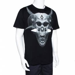 Marcelo Burlon Black Graphic Print Cotton T-Shirt M 297860