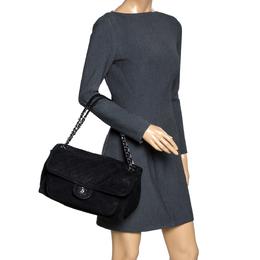 Chanel Black Quilted Nubuck CC Flap Shoulder Bag 297867