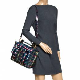 Tory Burch Multicolor Coated Canvas and Tweed Top Handle Bag 297878