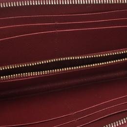 Prada Red Saffiano Lux Leather Zip Around Wallet 297661