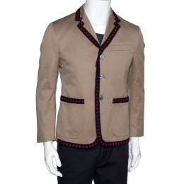 Gucci Beige Cotton Crochet Trim Three Buttoned Jacket M 297469