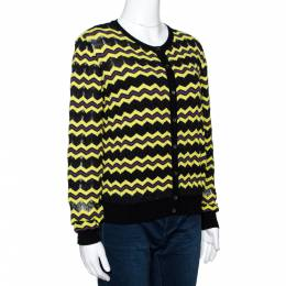 M Missoni Yellow Zigzag Knit Button Front Cardigan L 297848