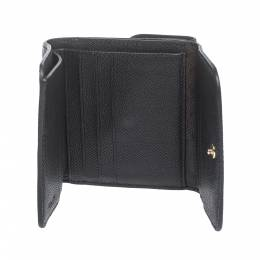 Coach Black Leather Trifold Compact Wallet 297691