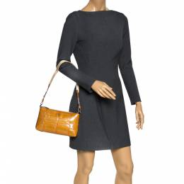 Aigner Tan Patent Leather Shoulder Bag 297745