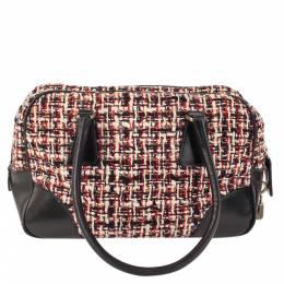 Prada Black/Multicolor Tweed and Leather Satchel Bag 297577
