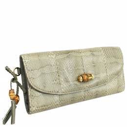 Gucci Gray Snakeskin Leather Python Bamboo Clutch 290787