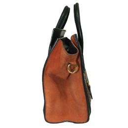 Celine Brown/Black Snakeskin Leather Suede Python Nano Luggage Tote Bag 287884