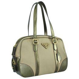Prada Bronze Canvas Saffiano Leather Shoulder Bag 271252