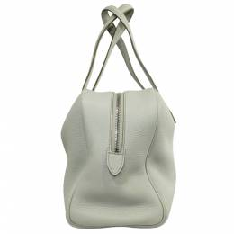 Hermes Ivory Clemence Leather Victoria II 35 Bag 262416