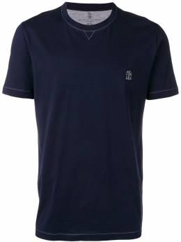 Brunello Cucinelli футболка с вышитым логотипом M0T611328GCV362