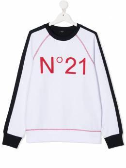No.21 Kids двухцветная толстовка с логотипом N214DJN0005