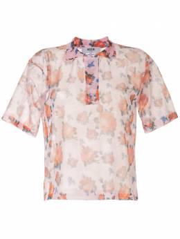MSGM полупрозрачная рубашка с цветочным принтом 2842MDM219207467
