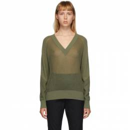 Rag&Bone Green Adaya V-Neck Sweater WAS20PS006KS06-LTOLIV