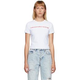 T By Alexander Wang Reversible White Shrunken Logo T-Shirt 4CC2201118