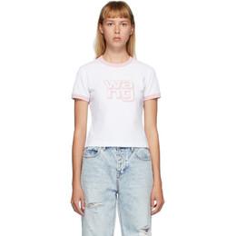 T By Alexander Wang White and Pink Shrunken Ringer T-Shirt 4CC2201125
