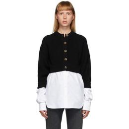 T By Alexander Wang Black Bi-Layer Oxford Shirting Cardigan 4KC2203056