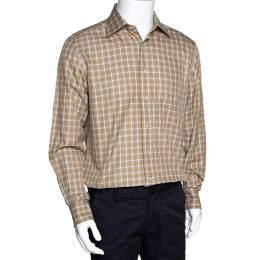 Ermenegildo Zegna Beige Checked Cotton Long Sleeve Shirt M 297824