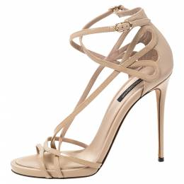 Dolce&Gabbana Beige Patent Leather Strappy Sandals Size 38 297820