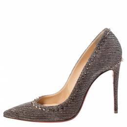 Christian Louboutin Silver/Brown Lame Fabric Anjalina Pointed Toe Pumps Size 37 297829