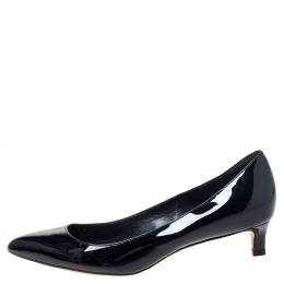 Gucci Black Patent Leather Kitten Heel Pointed Toe Pumps Size 37.5 297765