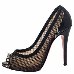 Christian Louboutin Black Mesh And Patent Leather Spiked Shawnita Peep Toe Pumps Size 37.5 297837