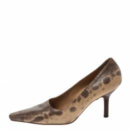 Gucci Brown/Beige Snakeskin Leather Pointed Toe Pumps Size 36.5 297836