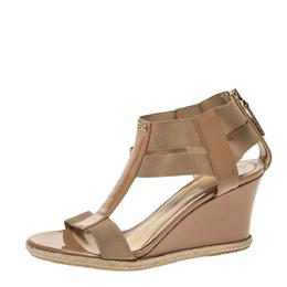 Fendi Beige Patent Leather And Stretch Fabric Carioca Wedge Espadrille Sandals Size 37 297754