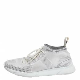 Dior White/Grey Knit B21 Socks Low Top Sneakers Size 40.5 297331