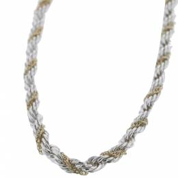 Tiffany & Co. Twisted Rope 18K Yellow Gold Silver Chain Necklace 297240