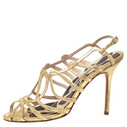 Manolo Blahnik Metallic Gold Leather Strappy Sandals Size 36.5 297809