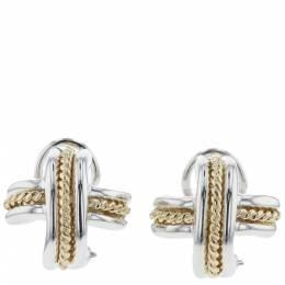 Tiffany & Co. Signature Combination Silver 18K Yellow Gold Earrings 297253