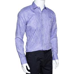 Etro Lilac Paisley Jacquard Cotton Pintucked Long Sleeve Shirt S 297790