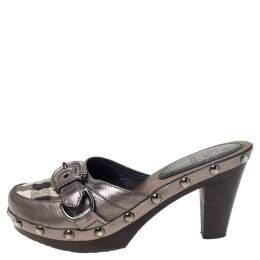 Burberry Metallic Leather And Check Canvas Studded Buckle Detail Clogs Sandals Size 36 297789