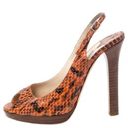 Jimmy Choo Two Tone Python Leather Peep Toe Slingback Sandals Size 37 297788