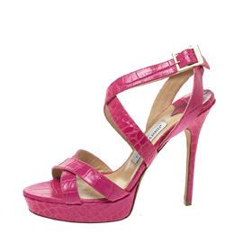 Jimmy Choo Pink Croc Embossed Leather Vamp Platform Ankle Strap Sandals Size 39 297785