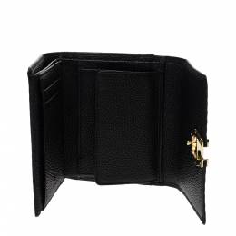 Aigner Black Leather Trifold Wallet 298195