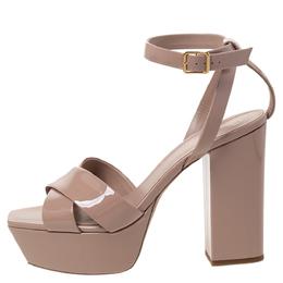 Saint Laurent Beige Patent Leather Farrah Platform Ankle Strap Sandals Size 41 297744