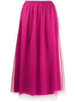 Red Valentino юбка миди из тюля пуэн-деспри со складками UR3RA3801GK