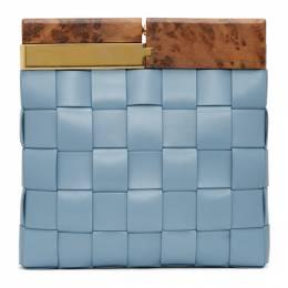 Bottega Veneta Blue Intrecciato Snap Clutch 618131 VCQC3