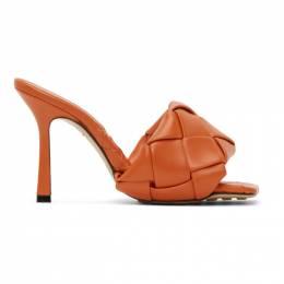 Bottega Veneta Orange Intrecciato Lido Heeled Sandals 608854 VBSS0