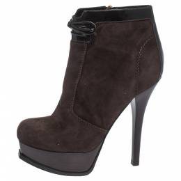 Fendi Brown Suede and Leather Fendista Platform Ankle Boots Size 39 298017