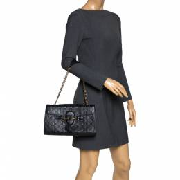 Gucci Black Guccissima Leather Medium Emily Chain Shoulder Bag 298342