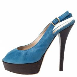 Fendi Blue Textured Leather Fendista Platform Slingback Sandals Size 39 298008