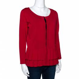 Ch Carolina Herrera Red Knit Pleated Hem Cardigan M 298359