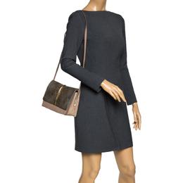 Nina Ricci Metallic Gold/Beige Leather and Suede Arc Shoulder Bag 298249