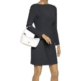Prada White Nylon Pochette Bag 298038