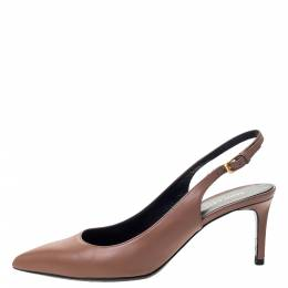 Saint Laurent Brown Leather Pointed Toe Slingback Sandals Size 37 297749